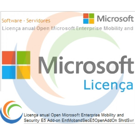 Licença anual Open Microsoft Enterprise Mobility and Security E5 Add-on EntMobandSecE5OpenAddOn ShrdSvr SNGL SubsVL OLP NL Annual AddOn [QLFD]