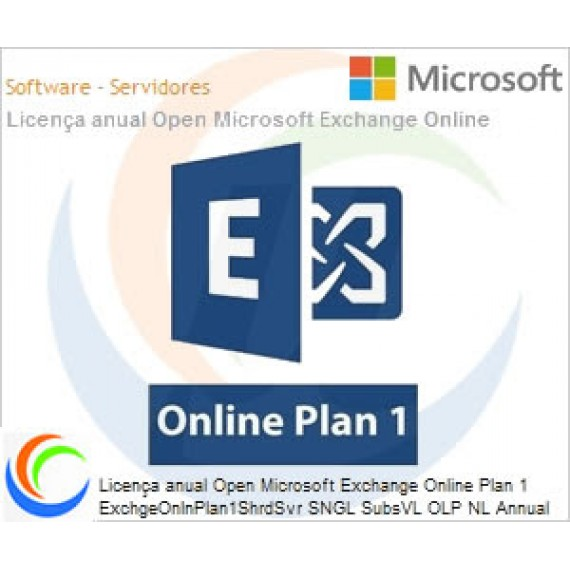 Licença anual Open Microsoft Exchange Online Plan 1 ExchgeOnlnPlan1ShrdSvr SNGL SubsVL OLP NL Annual Qualified [QLFD]