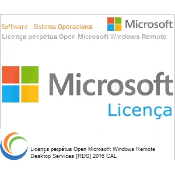 Licença perpétua Open Microsoft Windows Remote Desktop Services [RDS] 2016 CAL WinRmtDsktpSrvcsCAL SNGL OLP NL User CAL