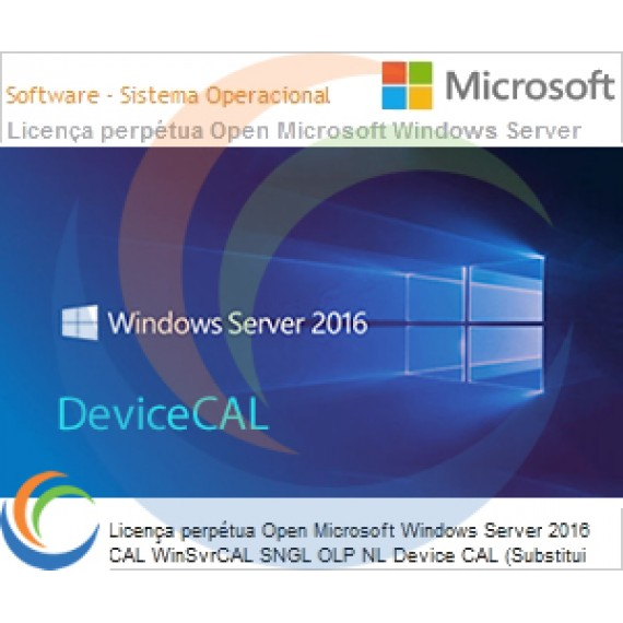 Licença perpétua Open Microsoft Windows Server 2016 CAL WinSvrCAL SNGL OLP NL Device CAL (Substitui 2012 R18-04277)