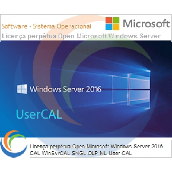 Licença perpétua Open Microsoft Windows Server 2016 CAL WinSvrCAL SNGL OLP NL User CAL